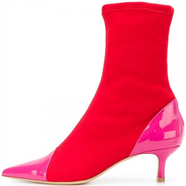 Hot Pink and Red Fall Boots Pointy Toe Kitten Heel Sock Boots image 1