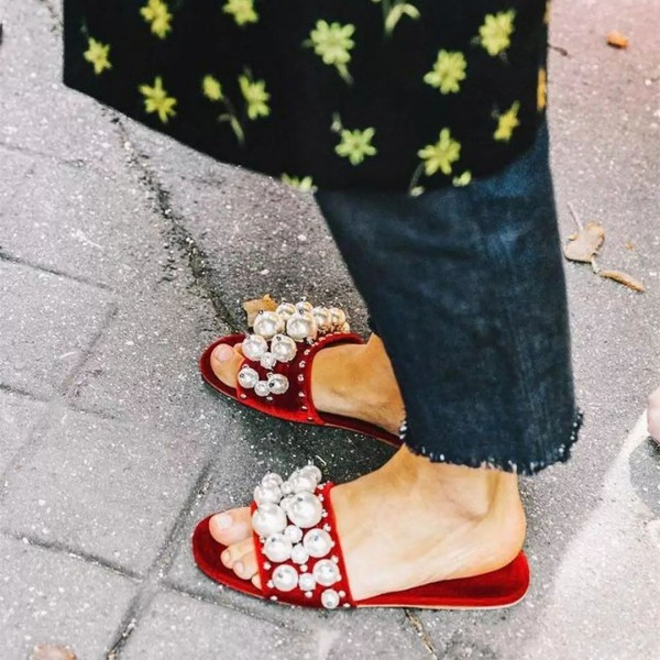 Red Jeweled Sandals Flats image 1