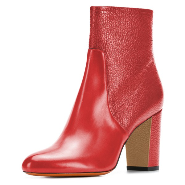 Red Joint Ankle Boot chunky Heel Boots image 1