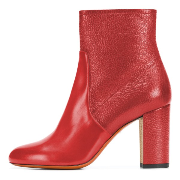 Red Joint Ankle Boot chunky Heel Boots image 3