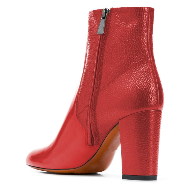 Red Joint Ankle Boot chunky Heel Boots image 4