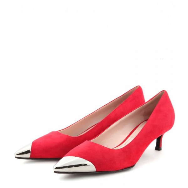bbe0db1d335 Red Kitten Heels Silver Pointed Toe Heel Pumps Dress Shoes for Women image  1 ...