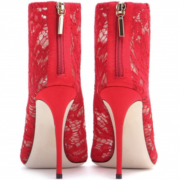 Red Lace Wedding Shoes Peep Toe Stiletto Heels Ankle Summer Boots image 3