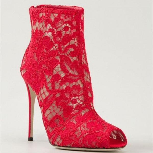 Red Lace Wedding Shoes Peep Toe Stiletto Heels Ankle Summer Boots image 2