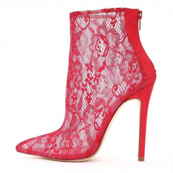 e4c488cce16 Red Lace Stiletto Heel Ankle Booties