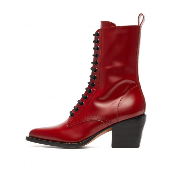 8178564c5c716 Red Lace Up Boots Block Heel Ankle Boots for Party, Music festival ...
