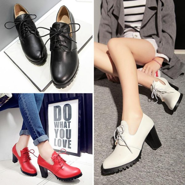 d97f0f655b ... White Lace up Oxford Heels Round Toe Chunky Heel Vintage Shoes image 5  ...