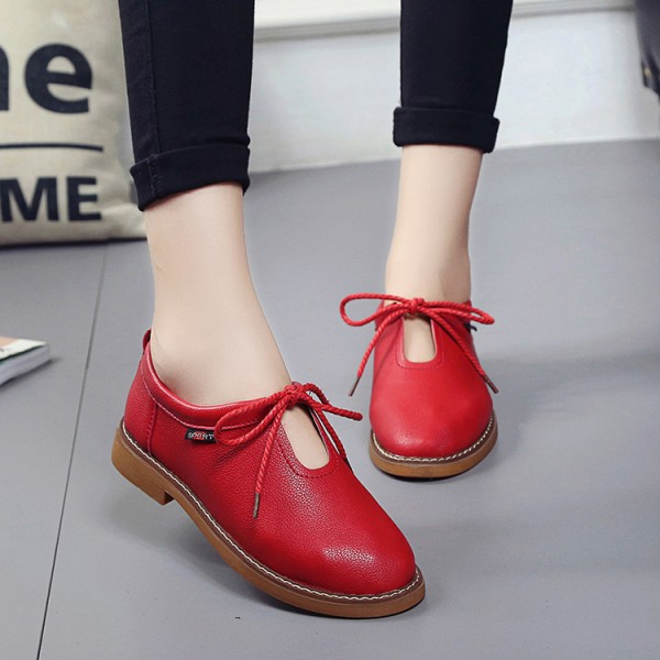 Red Comfortable Flats Vintage Lace up Shoes US Size 3-15 image 1