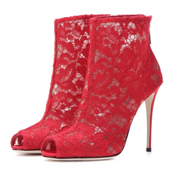 Red Lace Wedding Shoes Peep Toe Stiletto Heels Ankle Summer Boots image 1