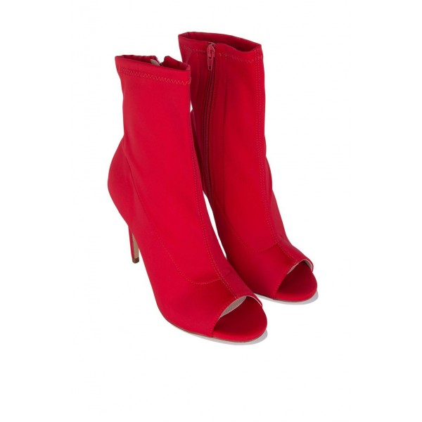 Red Peep Toe Heels Fashion Boots Suede Stiletto Heels Ankle Booties image 4