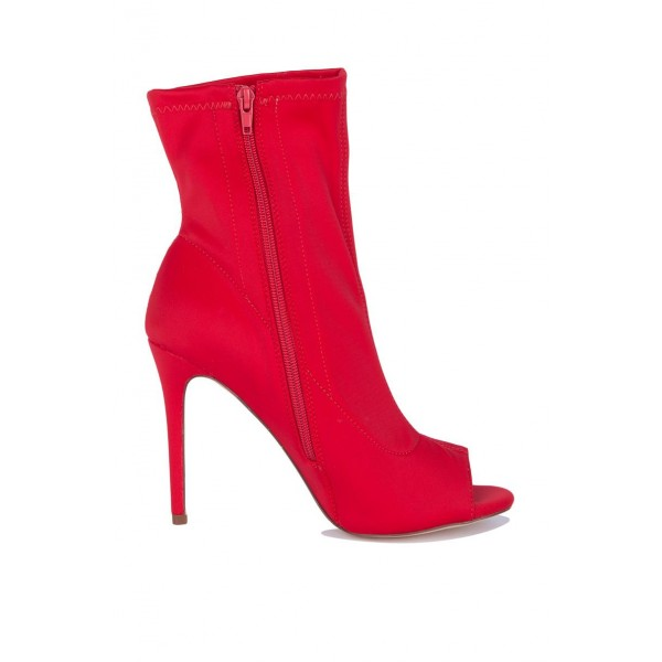 Red Peep Toe Heels Fashion Boots Suede Stiletto Heels Ankle Booties image 2