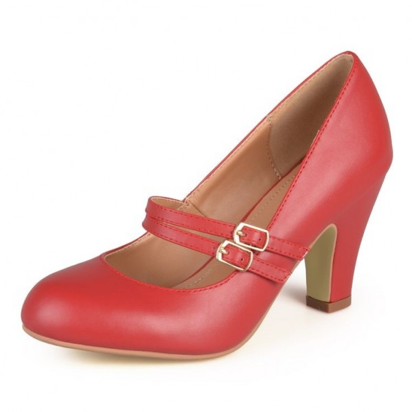 Red Mary Jane Pumps Chunky Heel Vintage Shoes for Women image 1
