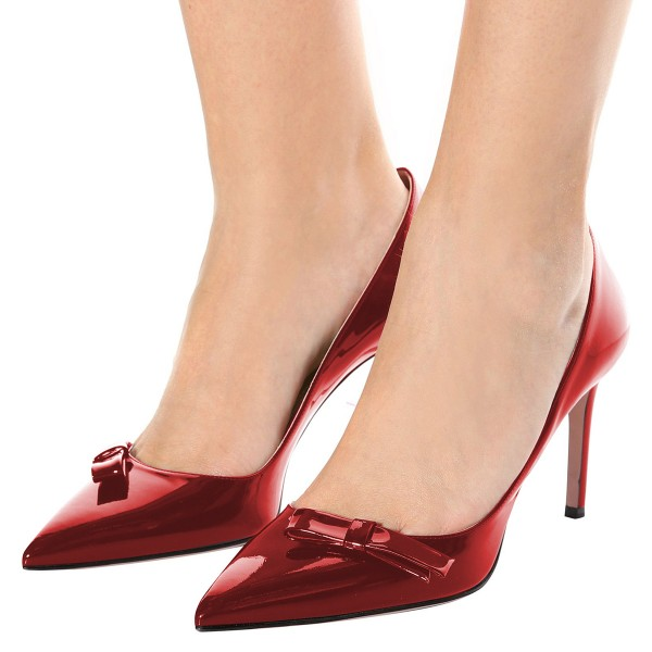 Red Mirror Leather Bow Stiletto Heels Pumps image 4
