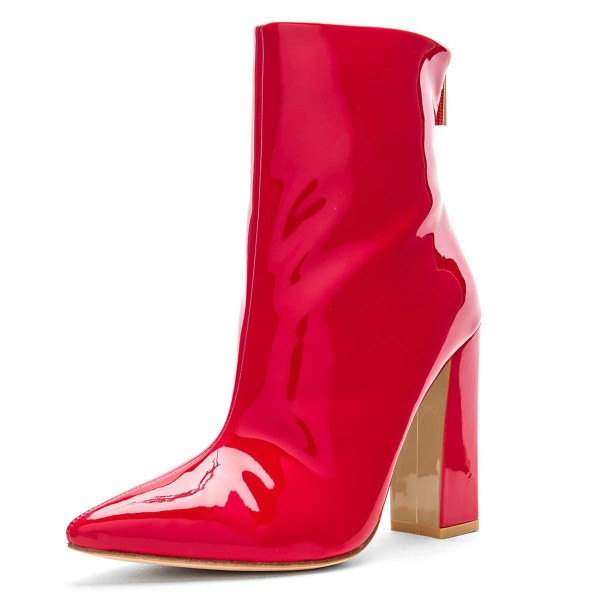 Red Mirror Leather Chunky Heel Boots Ankle Boots image 1