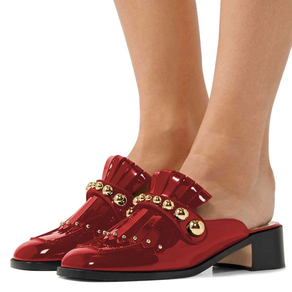 Red Mirror Leather Fringe Studs Loafer Mules image 1