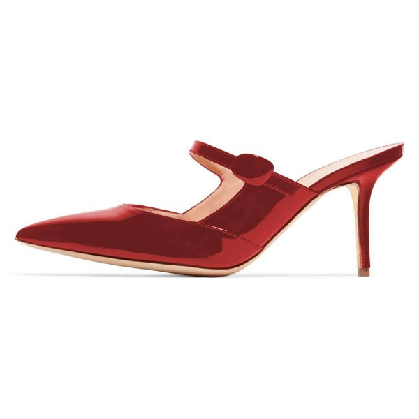 Red Mirror Leather Stiletto Heel Mules image 2