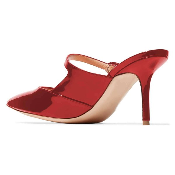 Red Mirror Leather Stiletto Heel Mules image 3