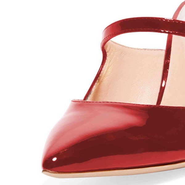 Red Mirror Leather Stiletto Heel Mules image 4