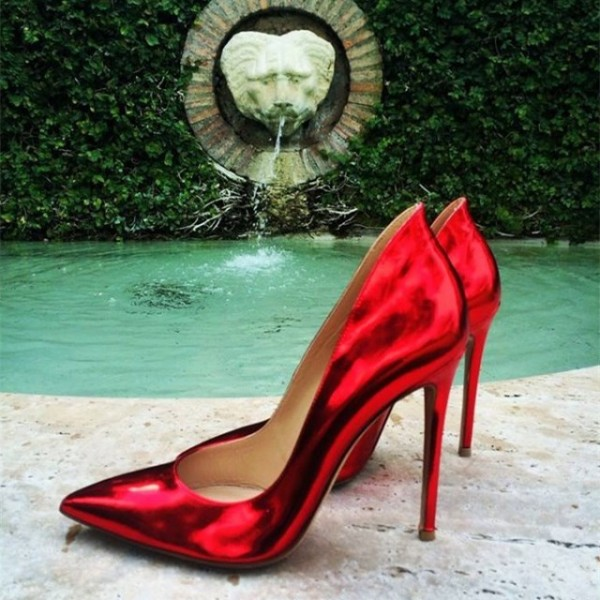 Red Mirror Leather Stiletto Heels Pumps image 1
