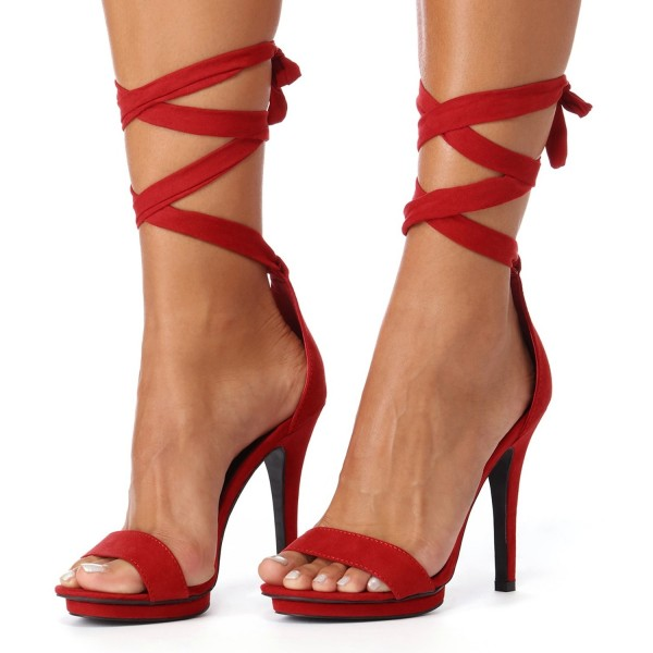 Red Open Toe Pencil Heels Strappy Sandals image 1