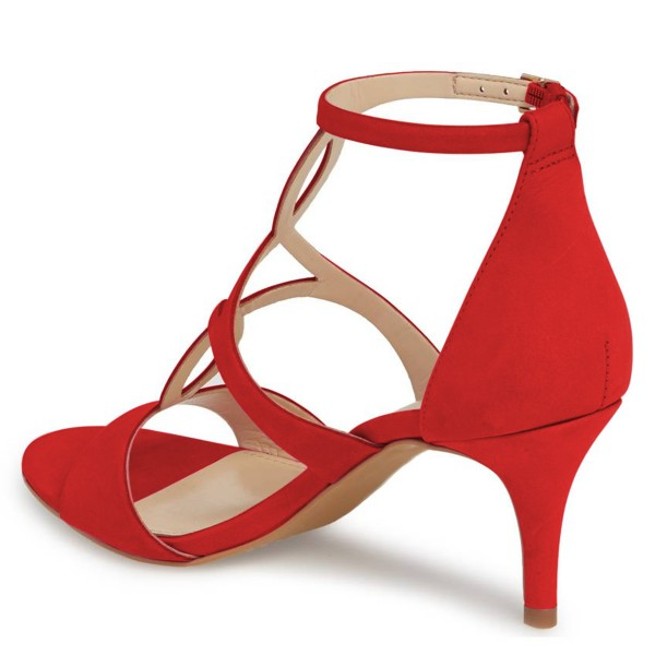 Red Open Toe Stiletto Heels Hollow out Ankle Strap Sandals image 2