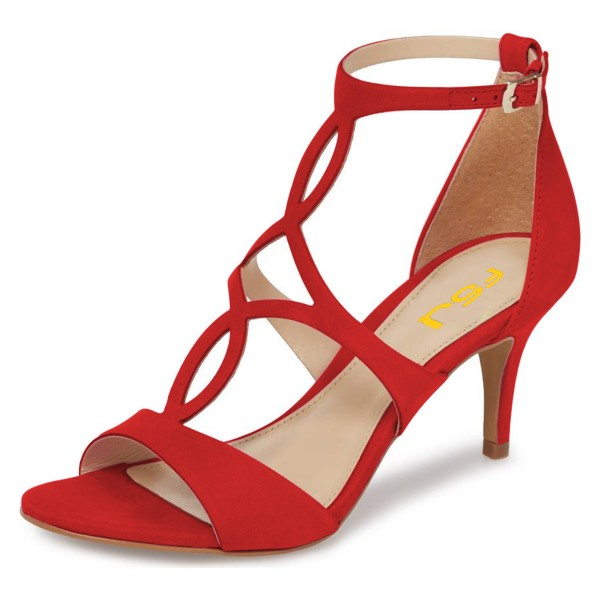 Red Open Toe Stiletto Heels Hollow out Ankle Strap Sandals image 1