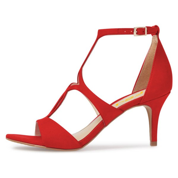 Red Open Toe Stiletto Heels Hollow out Ankle Strap Sandals image 3