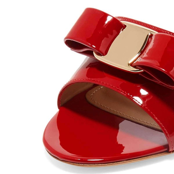 Red Patent Leather Bow Kitten Heels Mule Sandals image 2
