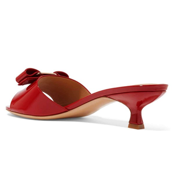 Red Patent Leather Bow Kitten Heels Mule Sandals image 4