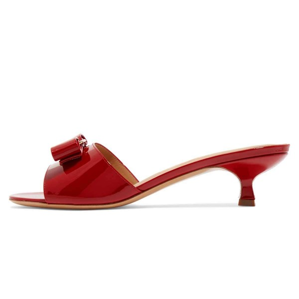 Red Patent Leather Bow Kitten Heels Mule Sandals image 3