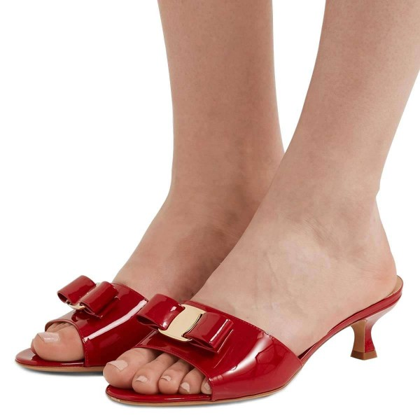 online for sale super cheap san francisco Red Patent Leather Bow Kitten Heels Mule Sandals for Work, Formal ...