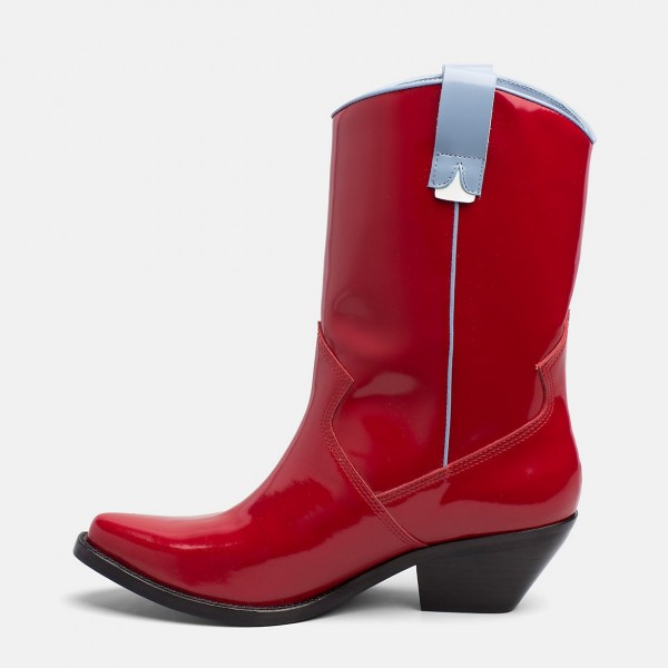 Red Western Boots Patent Leather Pointy Toe Chunky Heel Mid Calf Boots image 3