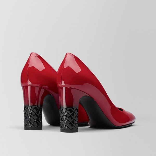 Fashion Red Patent Leather Chunky Heels Pumps image 2