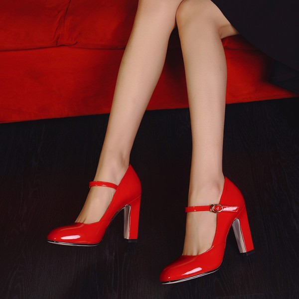 Red Mary Jane Pumps Chunky Heels Vintage Shoes for Women image 3