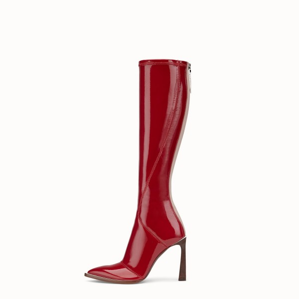 Red Patent Leather Fashion Boots Chunky Heel Boots image 3