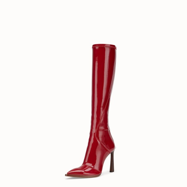 Red Patent Leather Fashion Boots Chunky Heel Boots image 2