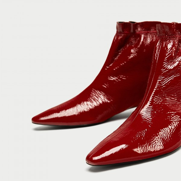 Red Low Heels Fashion Boots Pointed Toe Ankle Boots Comfortable Shoes image 5