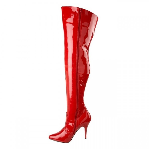Red Patent Leather Long Boots Thigh High Boots image 5