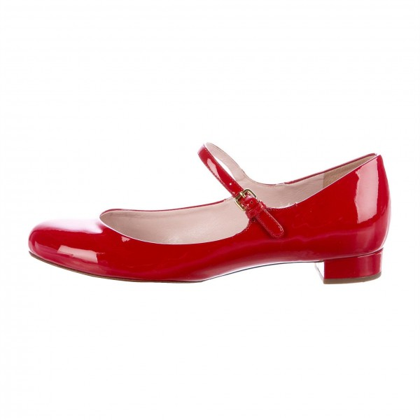 Red Patent Leather Mary Jane Shoes Round Toe Flats image 3