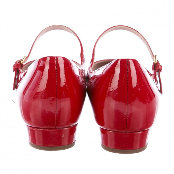 Red Patent Leather Mary Jane Shoes Round Toe Flats image 2