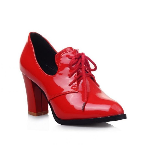 Red Patent Leather Oxford Heels Lace up Chunky Heel Vintage Shoes image 2
