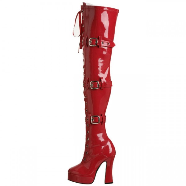 Red Buckle Boots Patent Leather Lace up Chunky Heel Thigh High Boots image 2