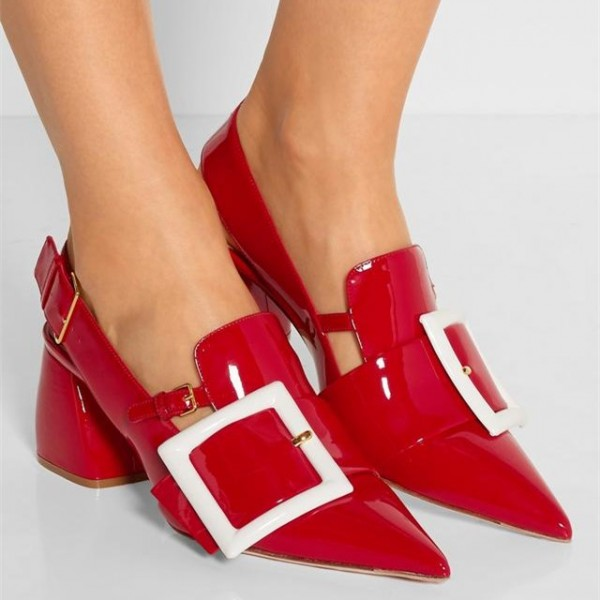 Red Buckle Chunky Heels Patent Leather Pointy Toe Slingback Pumps image 3