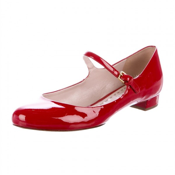 Red Patent Leather Mary Jane Shoes Round Toe Flats image 1