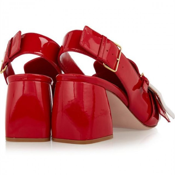 Red Buckle Chunky Heels Patent Leather Pointy Toe Slingback Pumps image 6