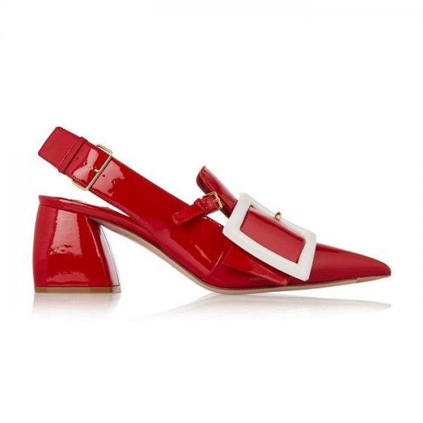 Red Buckle Chunky Heels Patent Leather Pointy Toe Slingback Pumps image 2