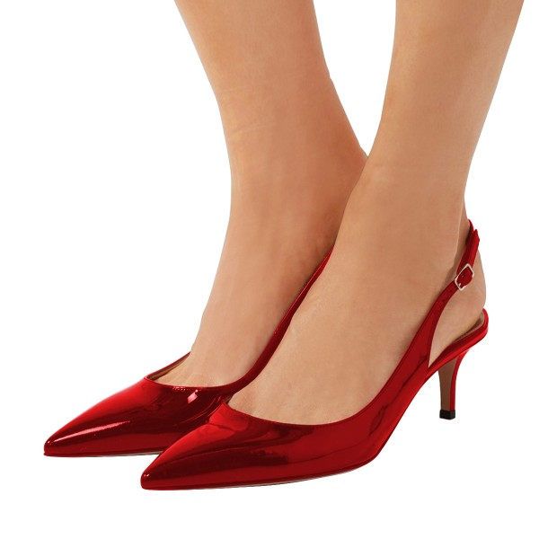 Red Patent Leather Slingback Heels Pointy Toe Kitten Heels Shoes image 1