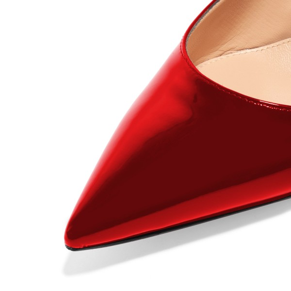 Red Patent Leather Slingback Heels Pointy Toe Kitten Heels Shoes image 4
