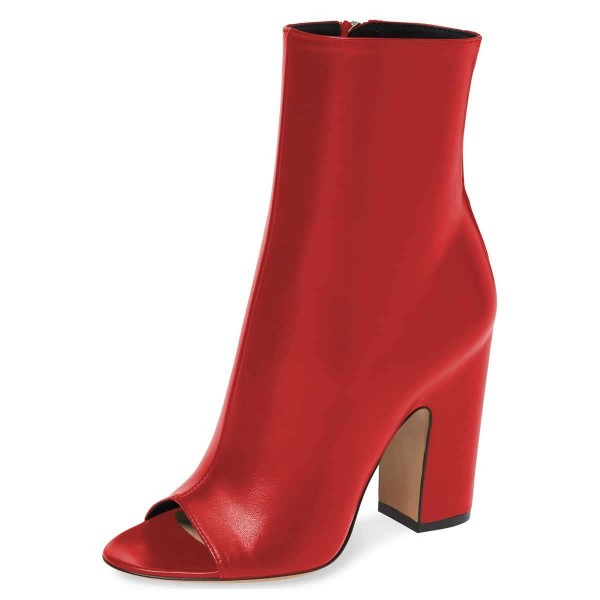 Red Peep Toe Booties Chunky Heel Ankle Boots image 1
