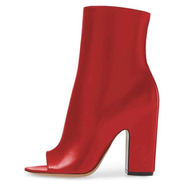 Red Peep Toe Booties Chunky Heel Ankle Boots image 4
